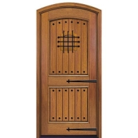 China Arched 2-Panel V-Groove rustic exterior entry door on sale