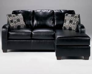 China Living Room Furniture Leather Sofa Chaise 1310218 Devin DuraBlend-Black on sale