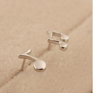 China 925 Sterling Silver Earrings Wholesale Small music Notes stud Women Casual/sporty Jewelry on sale