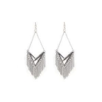 Earring Silver Fringe Chain Chandelier Earrings