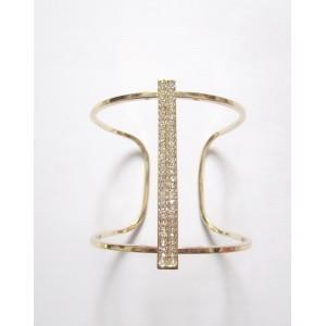 China Sparkling Rhinestone I Shape Open Gold Cuff Bracelet on sale