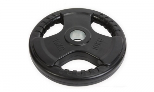 China Tri-Grip Black Rubber Olympic Weight Plates on sale