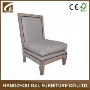 China white linen fabric nailhead design comfortable sofa chair on sale
