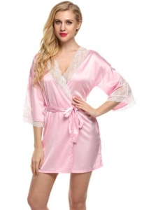 China Robes Womens Short Kimono Bathrobes Satin Sleepwear Lingerie on sale
