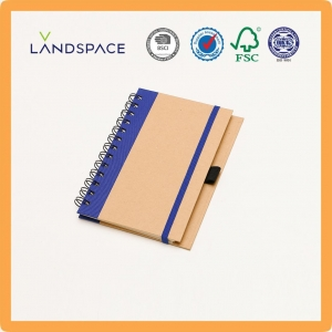 China Cheap A5 Side Binding Recycled Kraft Paper Spiral Notebooks With Pen on sale