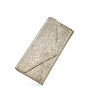 China Women Leather Snap Fastener Envelop Long Wallet Golden on sale