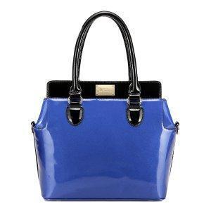 China Leather Color Block Women Shoulder Crossbody Bag Blue on sale