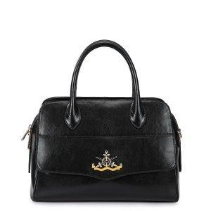 China Fashion Cowhide Leather Black Satchel Purse on sale