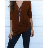 Brown Twist Front V-Neck Long Sleeve Blouse 21271-2