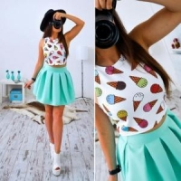 China Lovely Girl Printed White Crop Top and Pleated Sheer Skirt 21304-1 on sale