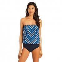 Plus Size One-Piece Bandeau Swimwear 21317