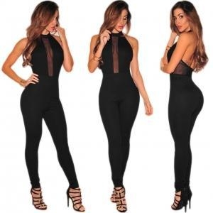 China Open Shoulder Sexy Black Jumpsuits 21390 on sale