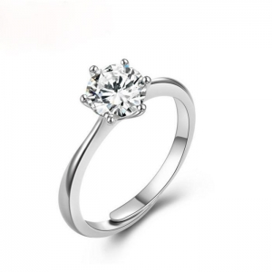 China Rings White Diamonds Pave Setting 925 Sterling Silver Ring on sale