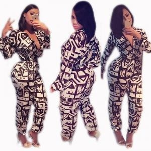 China White and Black Long Sleeve Plung Sexy Jumpsuits 21435 on sale