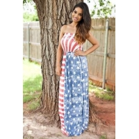 China American Flag Sexy Tube Maxi Dress 21469 on sale