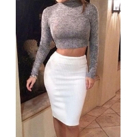 Turtle Neck Long Sleeve Crop Top and Bodycon Knit Skirt