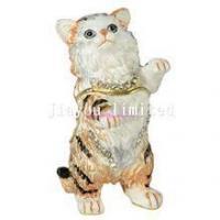 TBP0102-kitten cat trinket box hinged keepsake box decorative enameled box