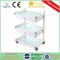 China Trolley&Cabinet DP-6038 stable salon glass shelf trolley trolley for salon on sale
