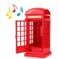 child toys Wooden telephone booth red music box music box gifts af01087