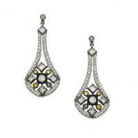 1041ER Multicolor Diamond Chandelier Earrings in 18K White Gold and Blackened Gold