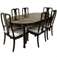 China Fine Lacquer Furniture Black Lacquer Dining Table w/6 Chairs on sale