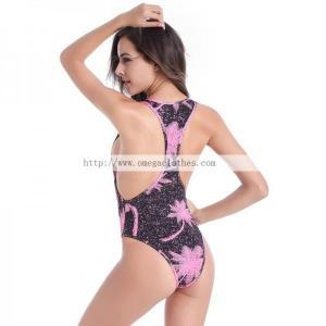 China Plus size Women Raceback One Piece High Cut swimwear(VS015) on sale