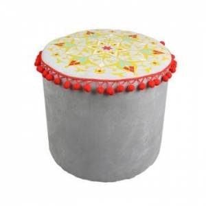 China India and Pakistan style grey circular cylinder stool SH08-151002022 on sale