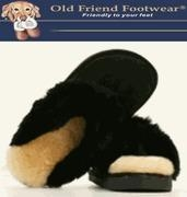 China Old Friend Footwear - Women's Scuff - Suede Sheepskin, Wool winter Slippers - Black on sale