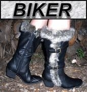 China Womans BIKER Boots - Faux LEATHER FUR Trim - Black on sale