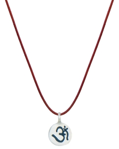 China Inspirational pendants OM Engraved Sterling Silver Mantra Necklace on sale