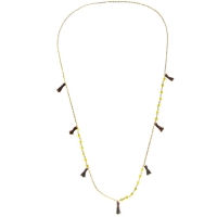 Necklaces 18K GP Tassel Necklace with Yellow Jade