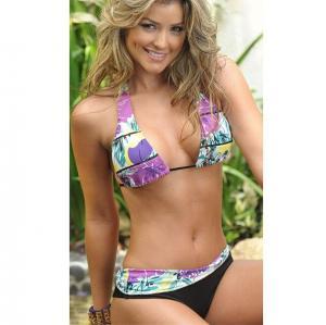 China Purple and Black String Bikini on sale