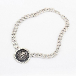 China ChokerNecklaces Metallic Lion Head Coin Necklace (Antique silver) on sale