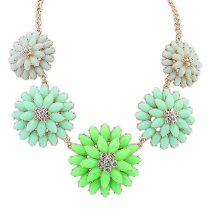 China Necklaces Bohemian Double Flower Necklace -Green+Light Blue on sale