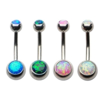Belly Button Ring with Opal Stone