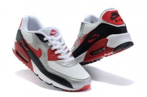 China Best Choice Air Max 90 Mens Shoes White Silver Red Black on sale