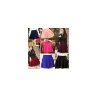 China Women Candy Color Stretch Waist Plain Skater Flared Pleated Mini Skirt on sale
