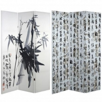 6 ft. Tall Bamboo Calligraphy Canvas Room Divider