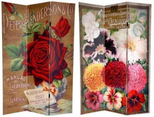 China 6 ft. Tall Flower Seeds Canvas Room Divider - Roses on sale