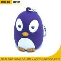 Plastic Penguin Voice LED Light Keychain Torch