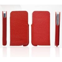 iPhone 5 Genuine Leather Pouch Case with lychee skin pattern