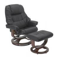 China Mario Black R-262 Series Top Grain Leather Recliner and Ottoman by Stanley Chair on sale