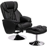 China Transitional Black Leather Recliner and Ottoman with Chrome Base (Black) (41H x 30W x 35D) on sale
