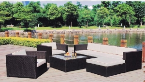 China Square 7pcs outdoor wicker living set on sale