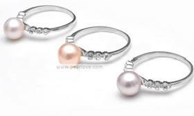 China PR31 7-8mm round pearl sterling zircon ring on sale