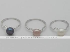 China PR17 7-7.5mm freshwater pearl silver ring on sale