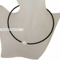 SPD24 11-12mm potato pearl leather necklace