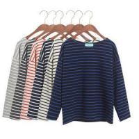 2015 autumn loose 100% cotton long-sleeve T-shirt female horizontal stripe plus size cloth
