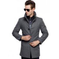 Mens British Single Breasted Slim Wool Coat