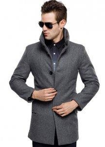 China Mens British Single Breasted Slim Wool Coat on sale